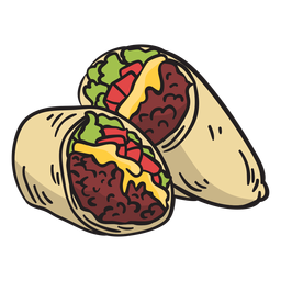Food mexican burrito illustration