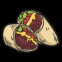 Ilustração de burrito mexicano de comida
