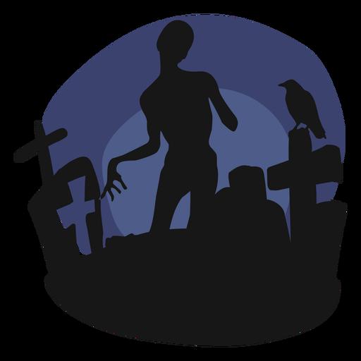 Ilustración de papercut de ghoul de cementerio