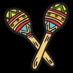 Ilustração de abanadores de instrumento Maracas México