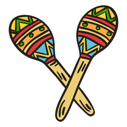 Maracas mexico instrument shakers illustration