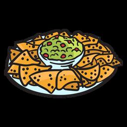 Ilustración de nacho mexicano