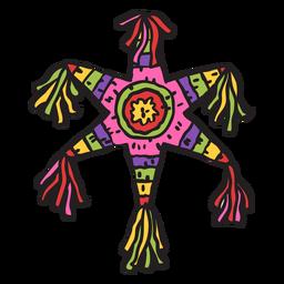 Ilustração colorida de estrela mexicana de Pinata