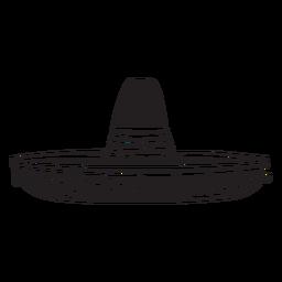 Ilustração de chapéu de silhueta mexicana sombrero