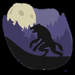 Ilustración de pie de bosque de hombre lobo
