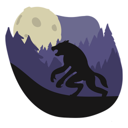 Werewolf forest standing illustration