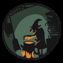 Ilustração de cozinha halloween bruxa