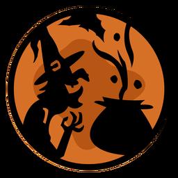 Ilustración de papercut de bruja halloween