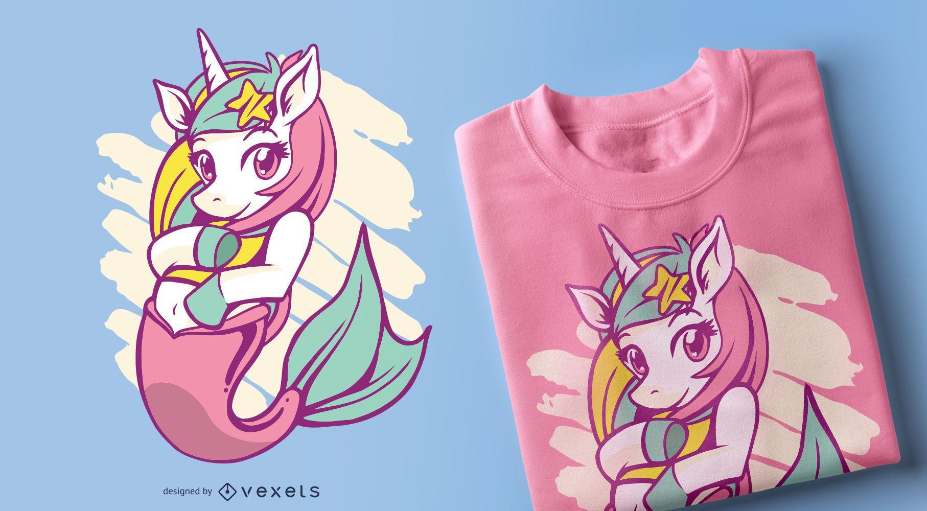 Diseño de camiseta de unicornio sirena