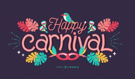 Design de letras de carnaval feliz
