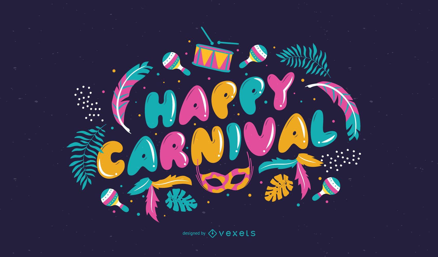 Happy Carnival Colorful Quote Design