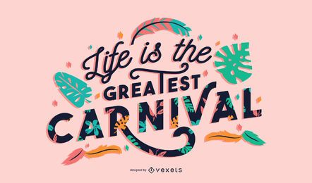 Design de letras de frase de carnaval