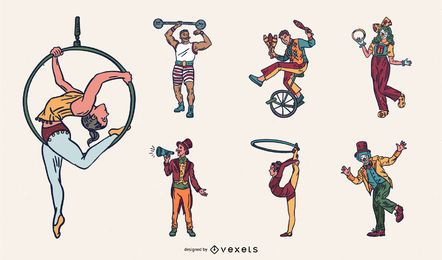 Pacote de design de artista de circo colorido