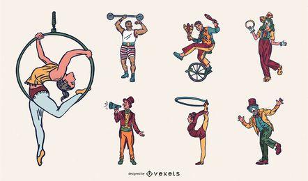 Paquete de diseño colorido para artistas de circo