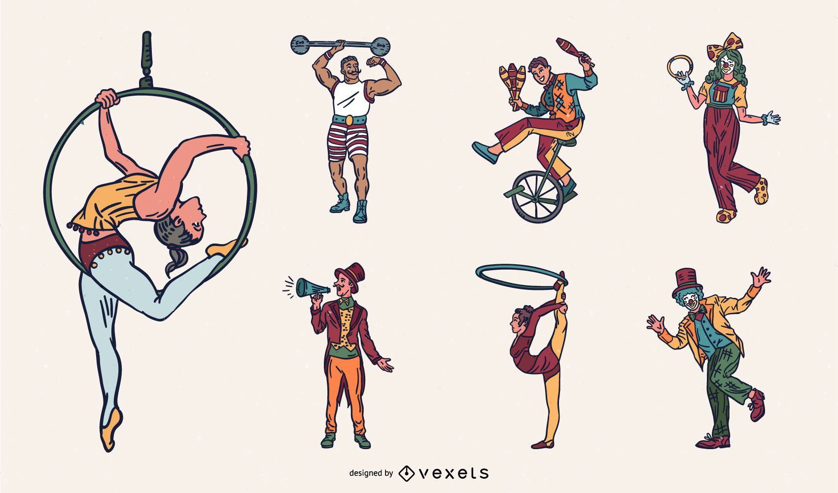Pacote de Design do Artista de Circo Colorido