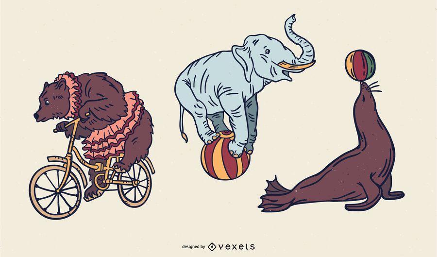 Conjunto de Design de animais de circo