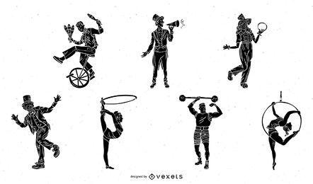 Conjunto de silhuetas de personagens de circo