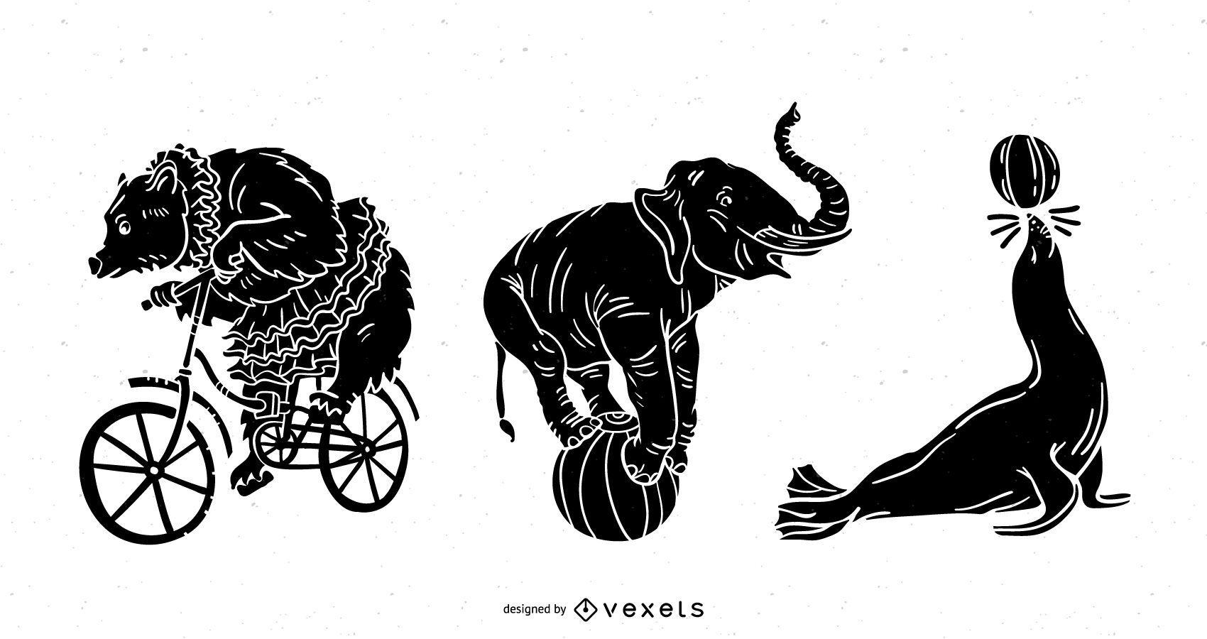 Conjunto de silhueta de animais de circo