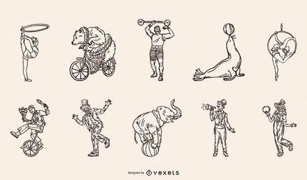 Pacote de traços de personagens e animais de circo