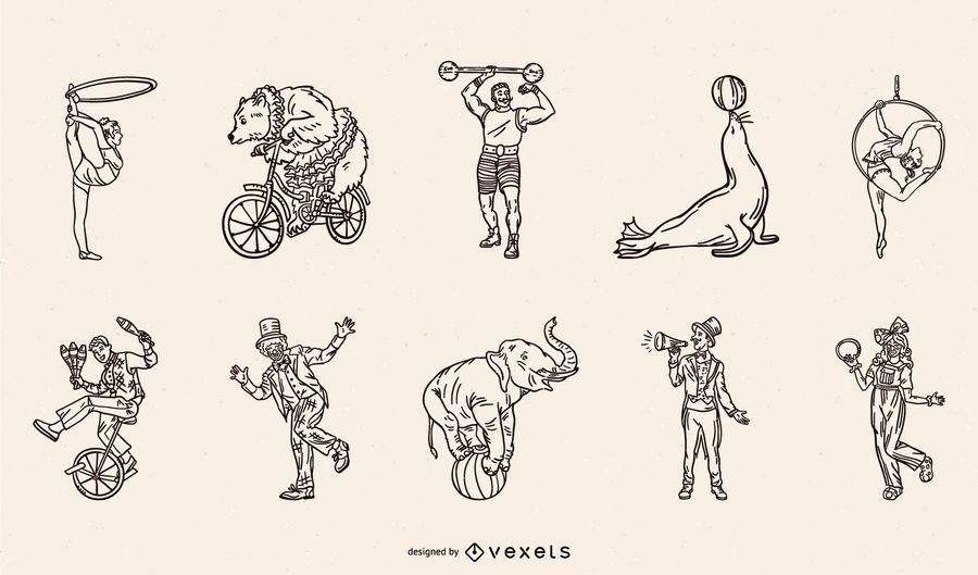 Pacote de tacadas para personagens de circo e animais
