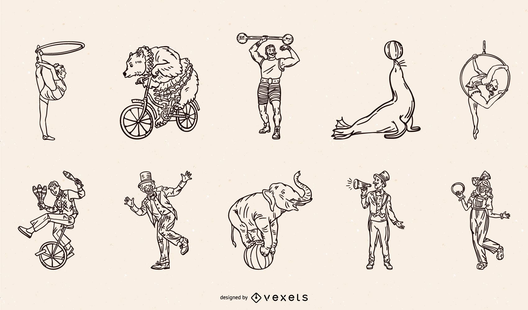 Circus Characters and Animals Stroke Pack