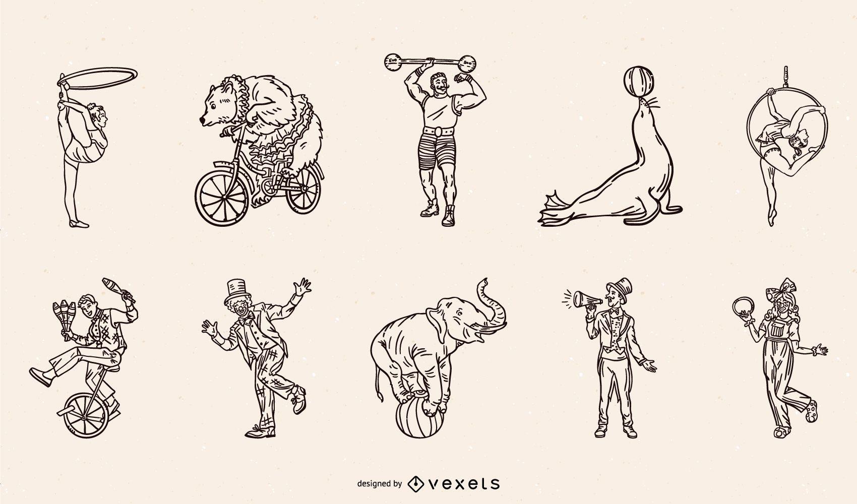 Paquete de trazos de personajes y animales de circo