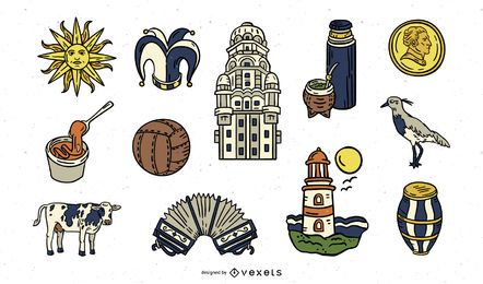 Handdrawn Uruguay Elements Pack