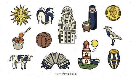 Pacote de Elementos do Uruguai Desenhado à Mão