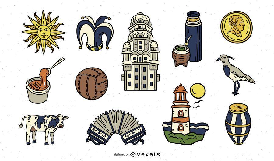 Pacote de elementos Uruguai desenhados à mão