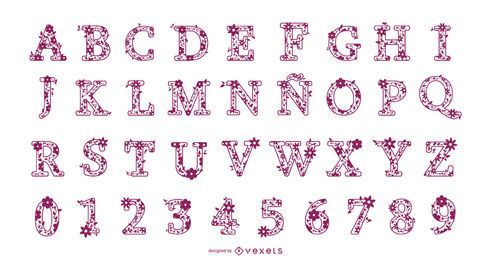 Blumenbuchstaben und Zahlen Alphabet Design Set