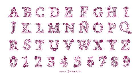 Conjunto de diseño de alfabeto de letras y números florales
