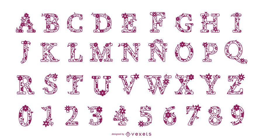 Conjunto de Design de alfabeto floral letras e números