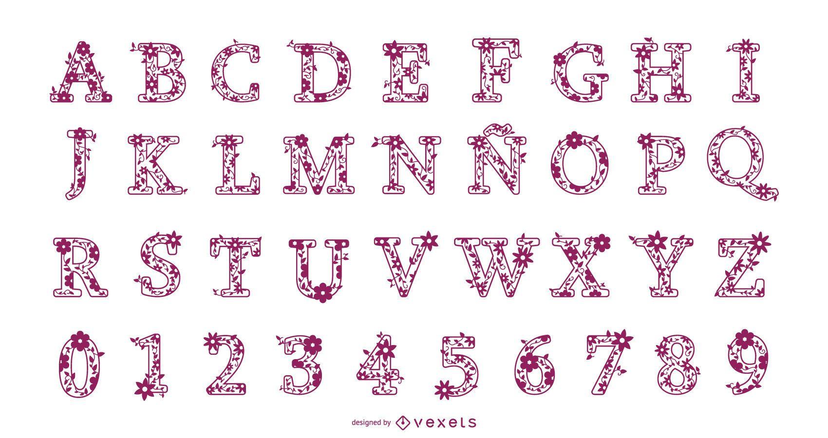Conjunto de design de alfabeto de letras e números florais
