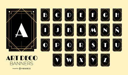 Conjunto de design de alfabeto Art Deco