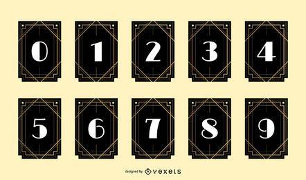 Art Deco Number Banner Design Pack