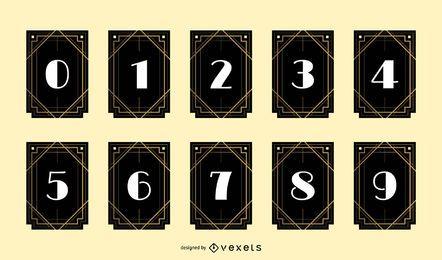 Pacote de design de banner número Art Deco
