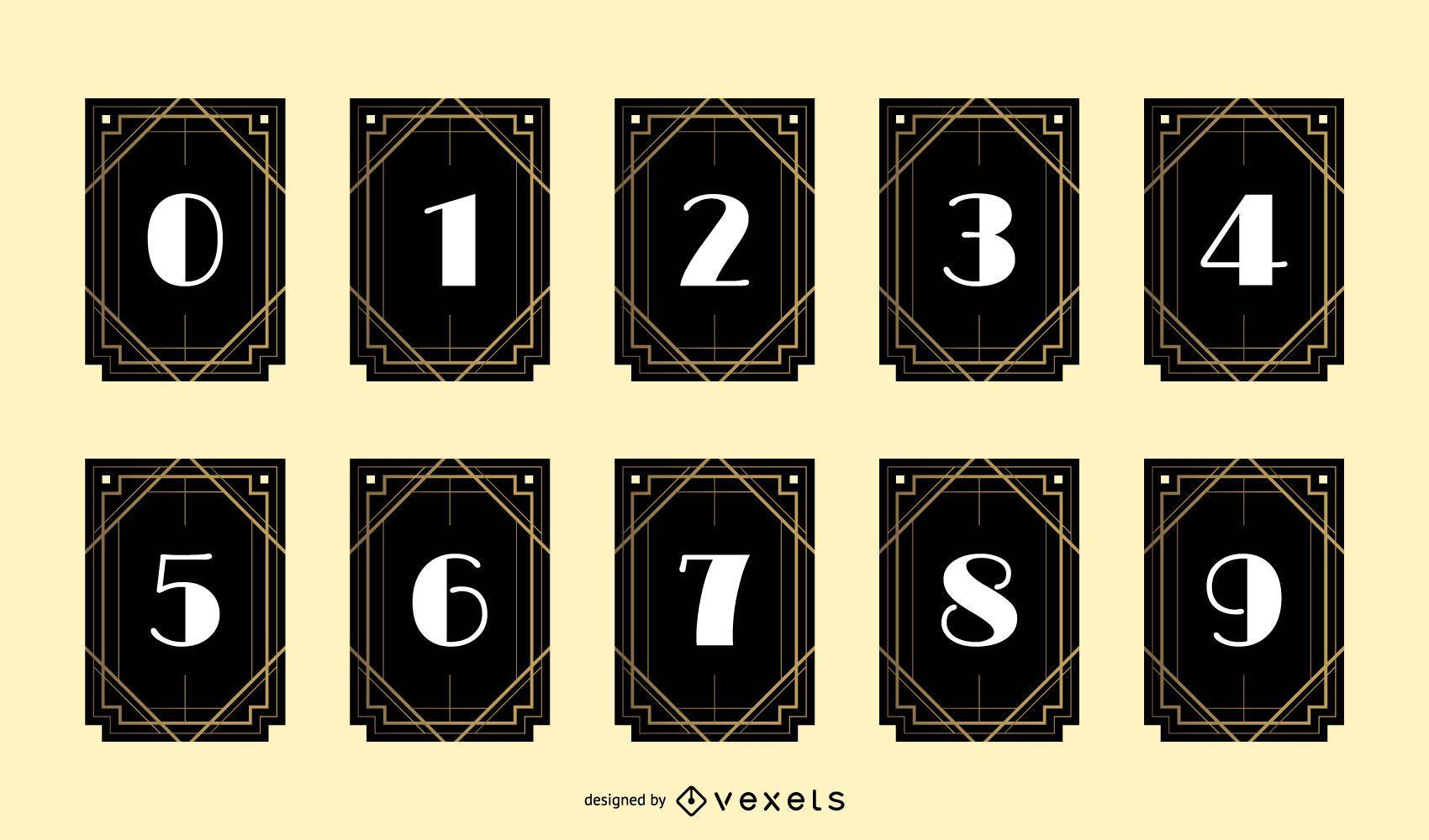 Art Deco Number Banner Design Pack
