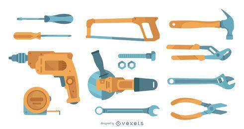 Colección de herramientas planas