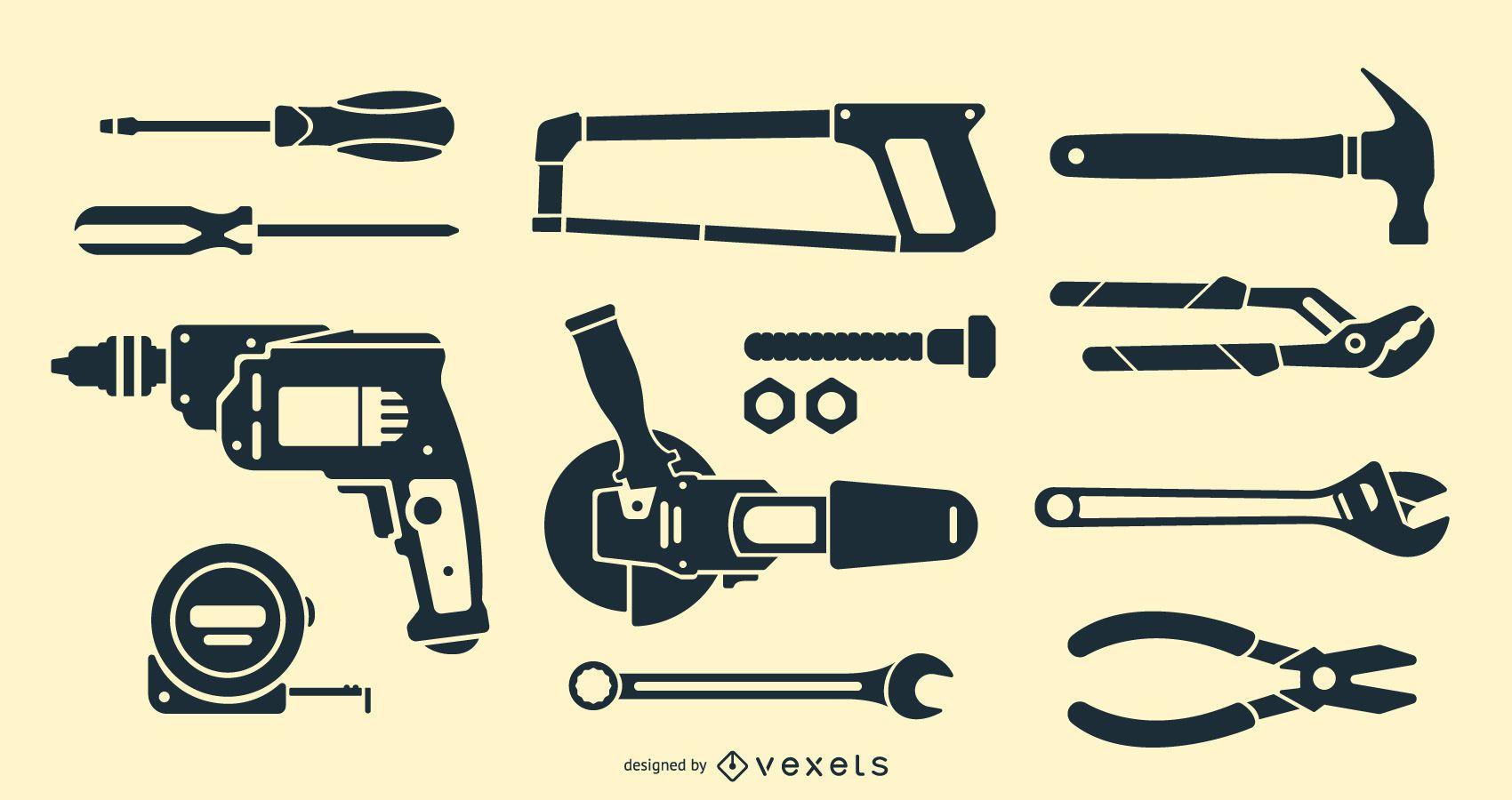 Schwarze Werkzeugsammlung