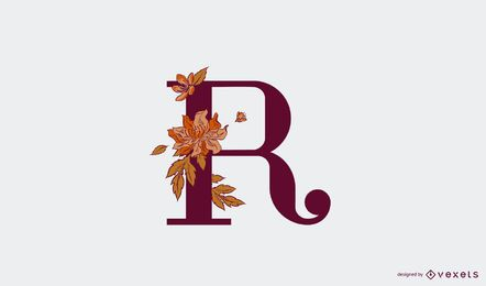 Modelo de logotipo floral com letra r