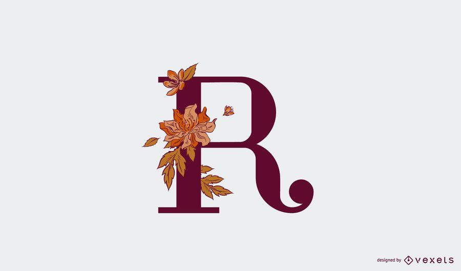 Plantilla de logotipo floral letra r