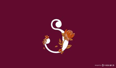 Modelo de logotipo floral letra s