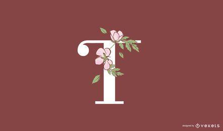 Modelo de logotipo floral letra t