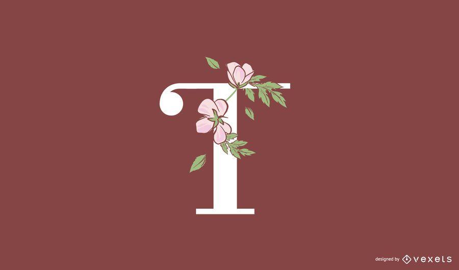 Plantilla de logotipo floral letra t