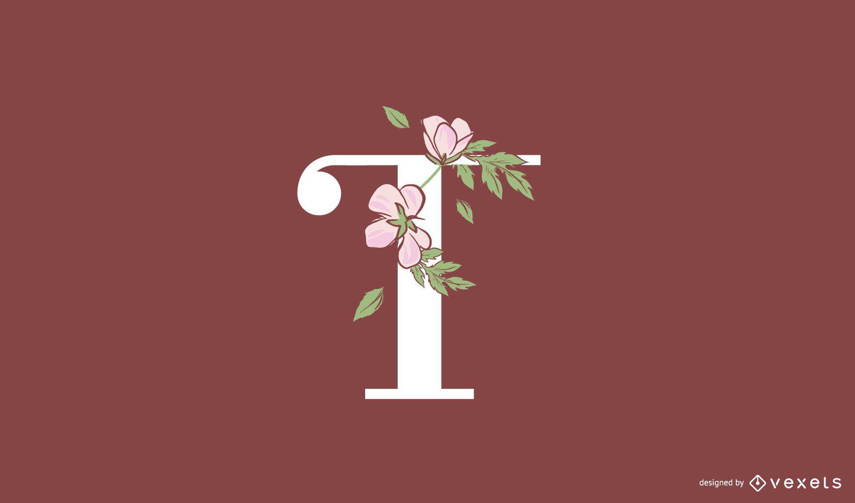 Floral letter t logo template