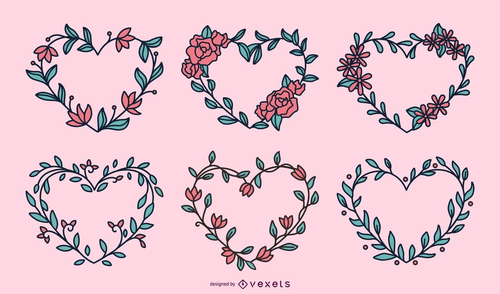 Conjunto de corazones de coronas de flores