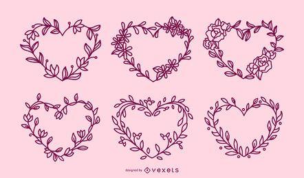 Conjunto de trazo de corazones de coronas de flores