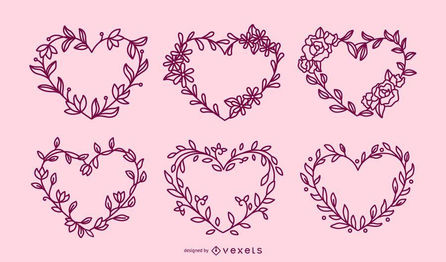 Flower wreaths hearts stroke set