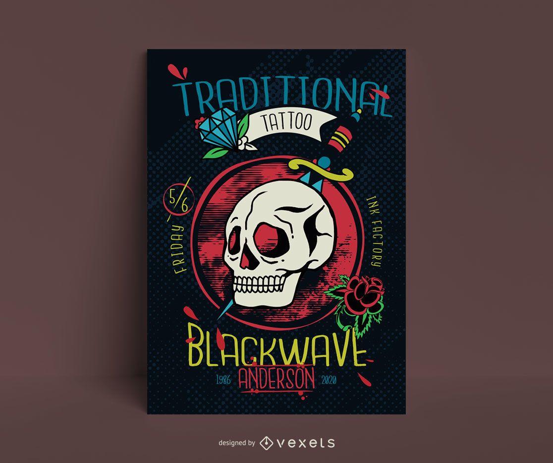 Vintage skull poster template