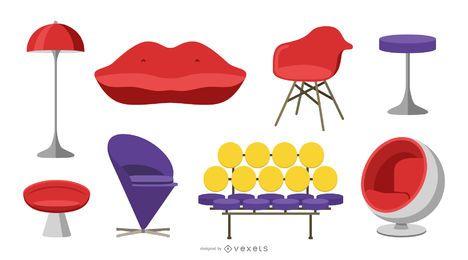 Conjunto de muebles de arte pop